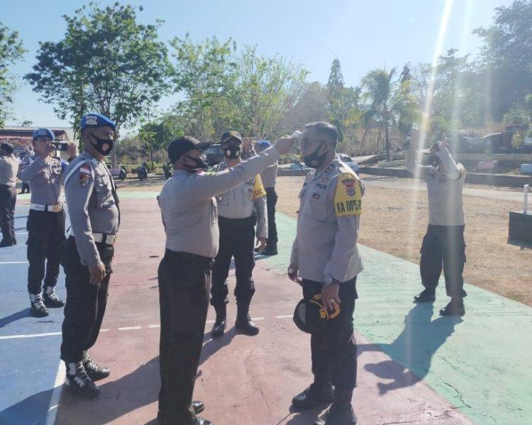 Antisipasi Covid – 19, Polres Rote Ndao Cek Suhu Tubuh Personel Sebelum Ngantor