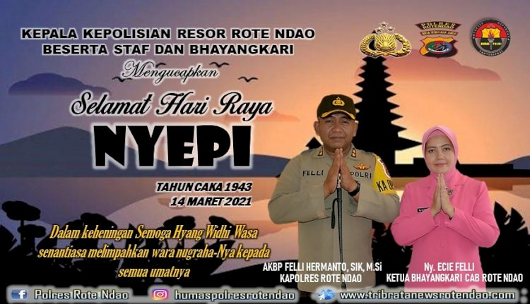 Kapolres Rote Ndao dan Bhayangkari Cabang Rote Ndao Berikan Ucapan Selamat Hari Raya Nyepi